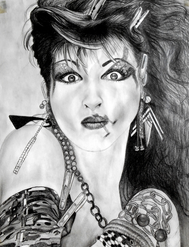 Cyndi Lauper Graphite on Paper EFHerne