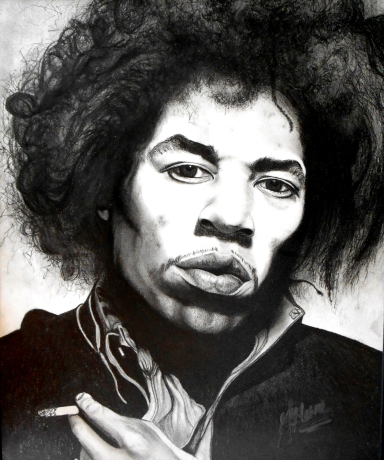 Jimi Hendrix Graphite on Paper EFHerne