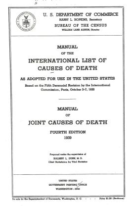 Manual for the International List of Causes of Death  Title Page 1939 Edition